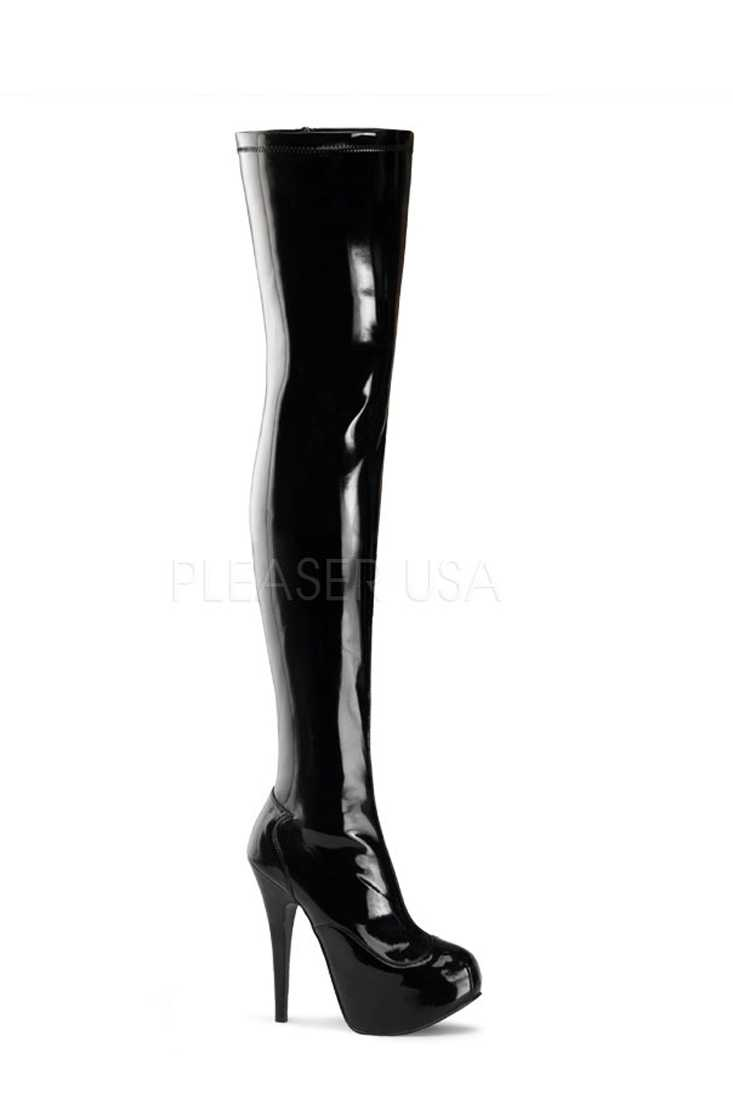 Black Thigh High Platform Heel Boots Stretch Patent