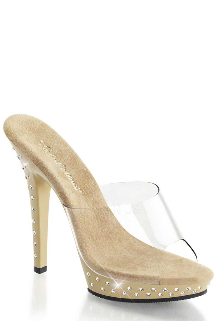 Clear Tan Rhinestone Peep Toe High Heels PVC