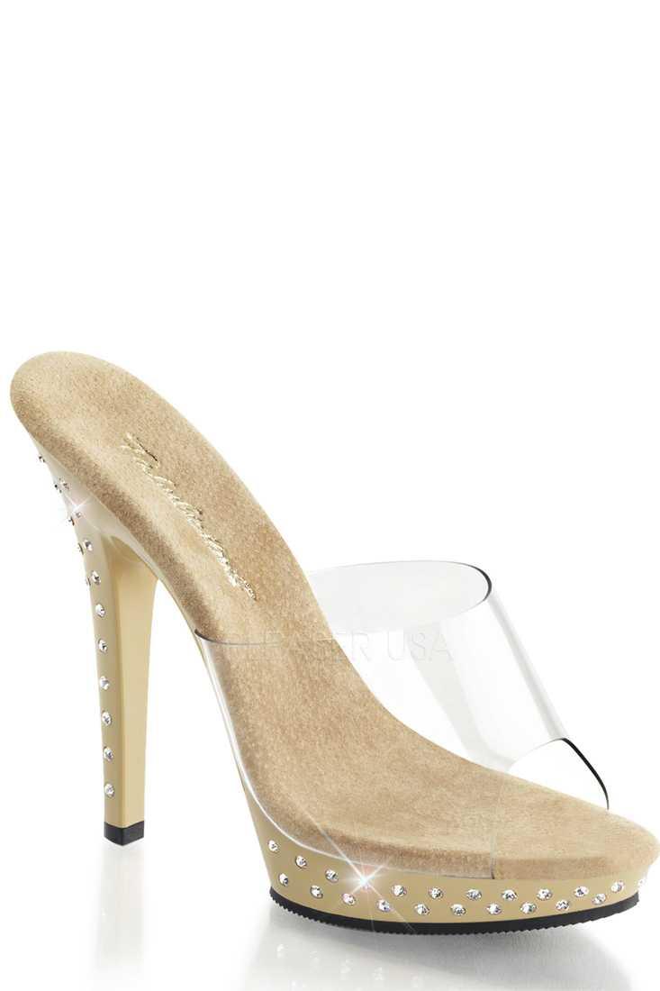 Clear Tan Rhinestone Peep Toe High Heels PVC