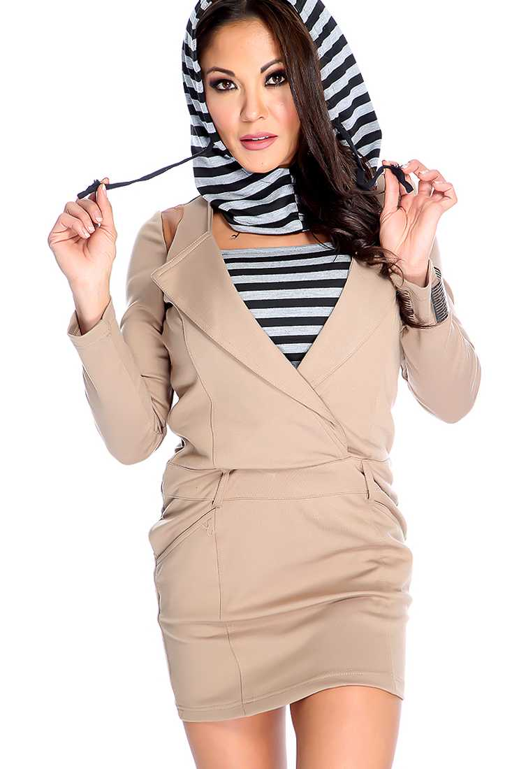 Sexy Tan Long Sleeve Versatile Hoodie Stripe Sweater Dress