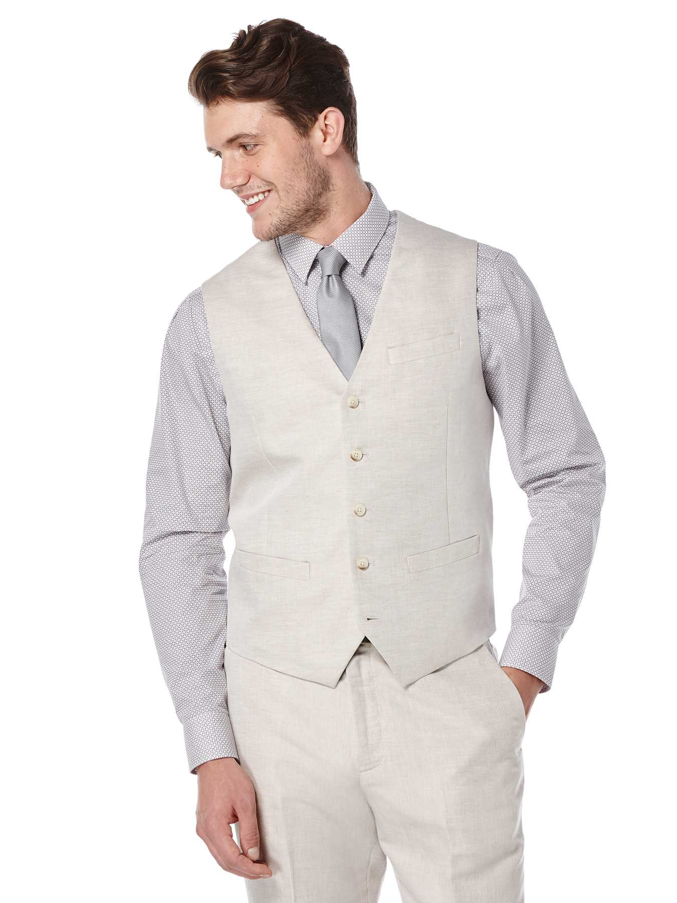 Perry Ellis Big and Tall Linen Twill Suit Vest