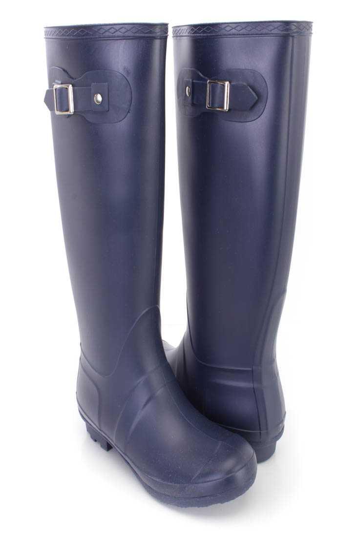 Navy Slip On Rubber Rain Boots PVC