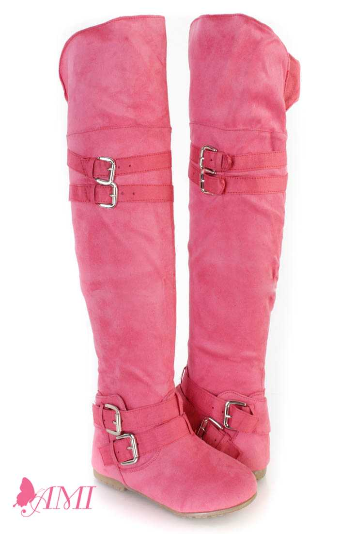 Coral Buckle Accents Thigh High Flat Boots Faux Suede