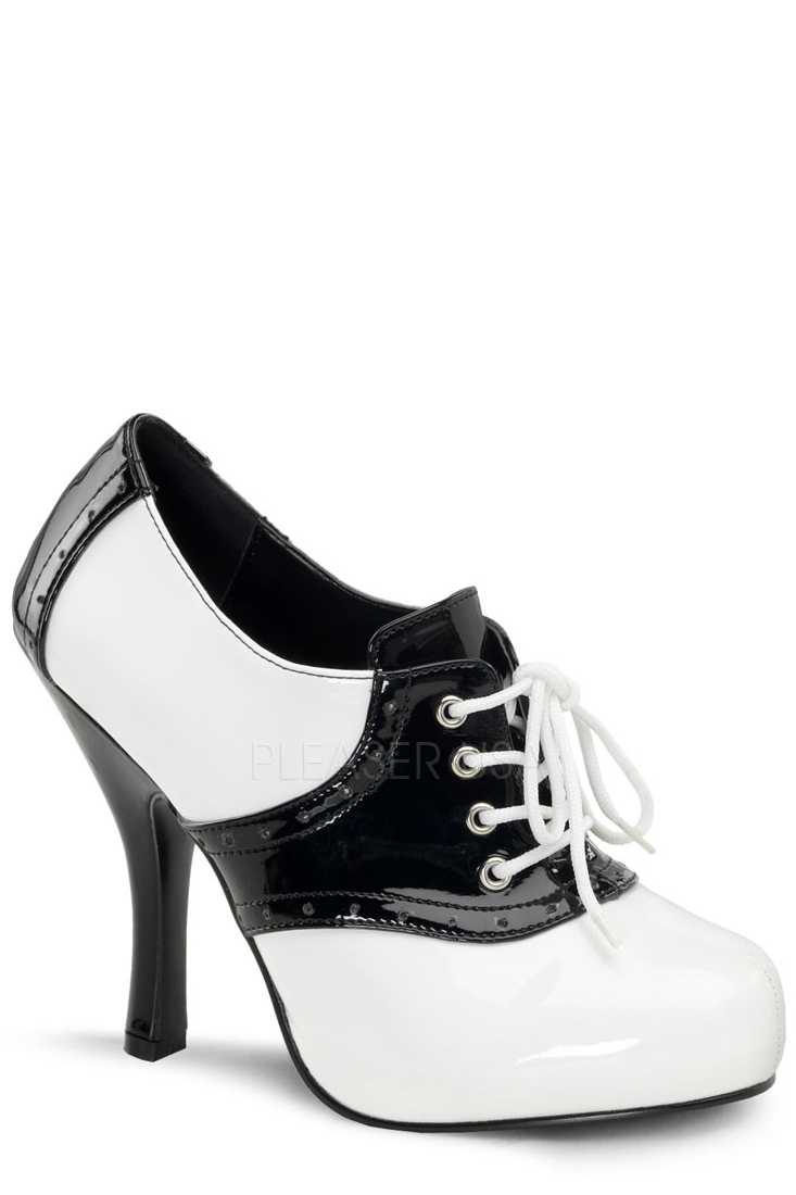Black White Oxford Saddle Booties Patent