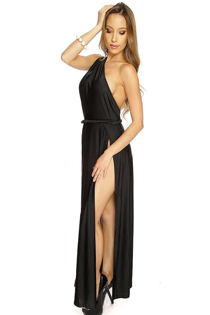 Black One Shoulder Strap Double Front Slit Maxi Dress
