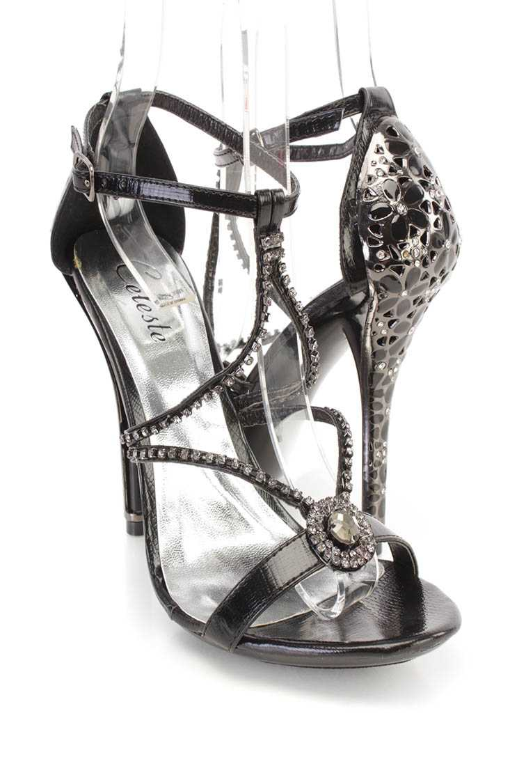 Black Rhinestone Strappy Single Sole Heels Faux Leather