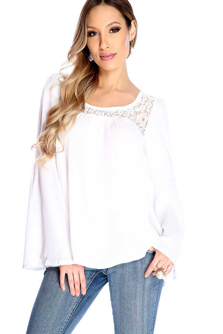 White Long Sleeve Floral Lace Detail Dressy Top