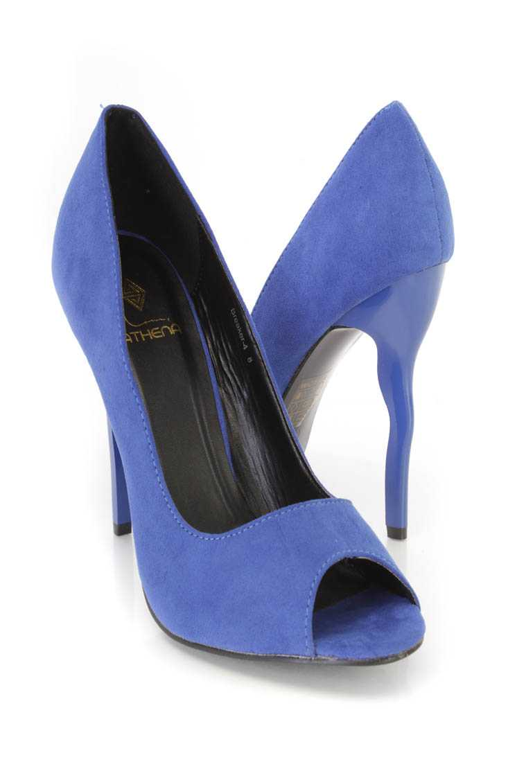 Royal Blue Peep Toe Single Sole Pump High Heels Faux Suede