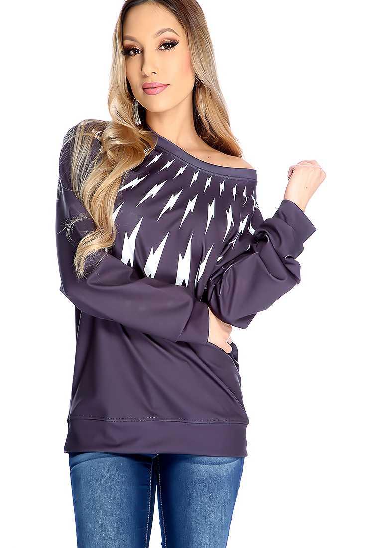 Black Long Sleeve Lightning Bolt Print Sweater Top