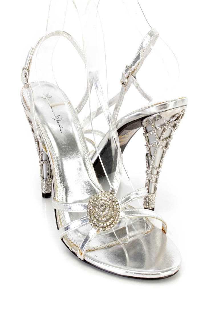 Silver Rhinestone Strappy Single Sole Heels Faux Leather