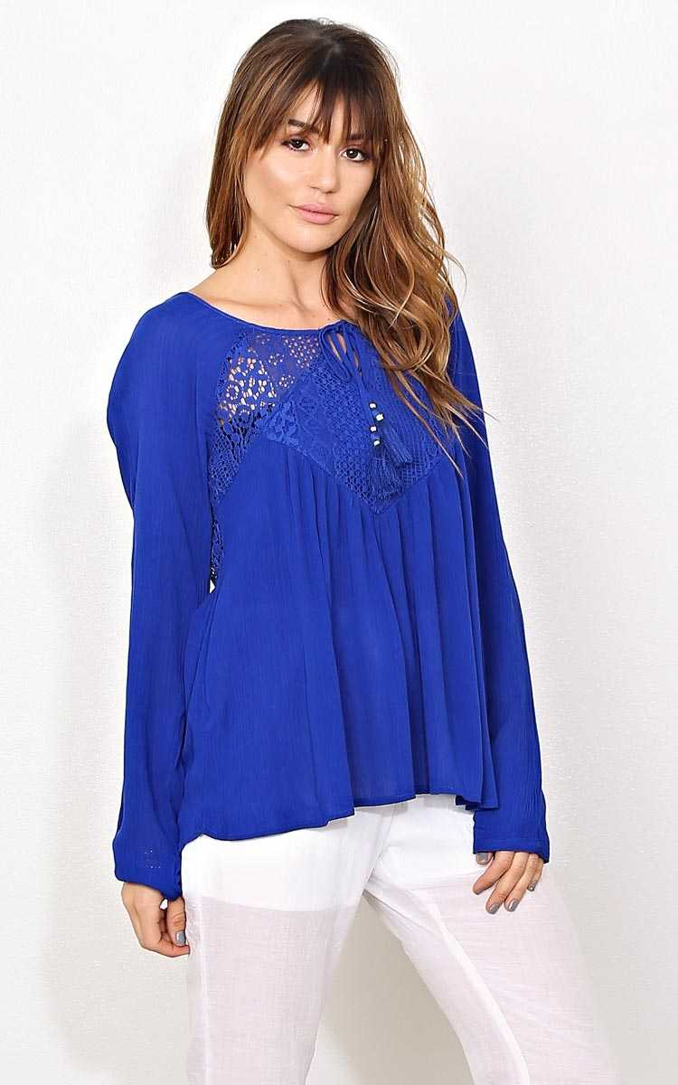 Shea Gauze Woven Top - MED - Cobalt in Size Medium by Styles For Less