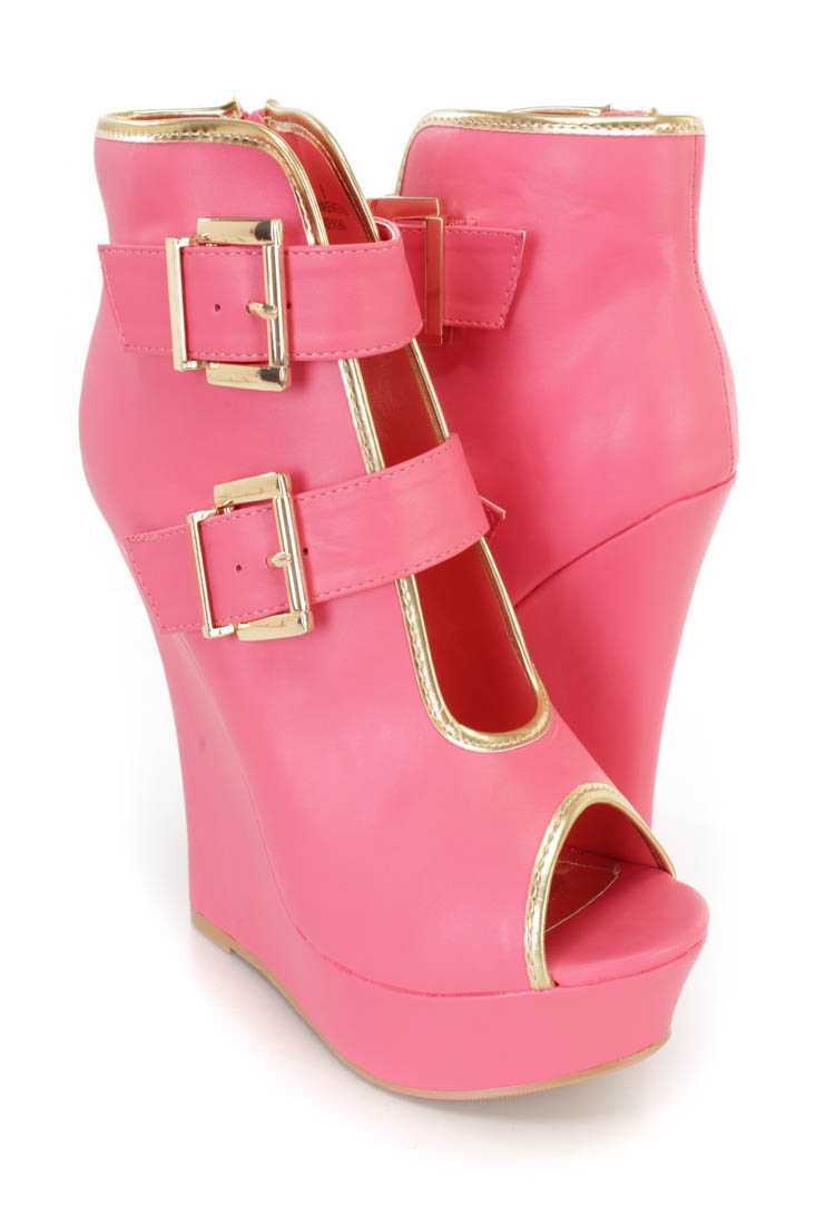 Coral Buckle Accents Peep Toe Platform Wedges Faux Leather