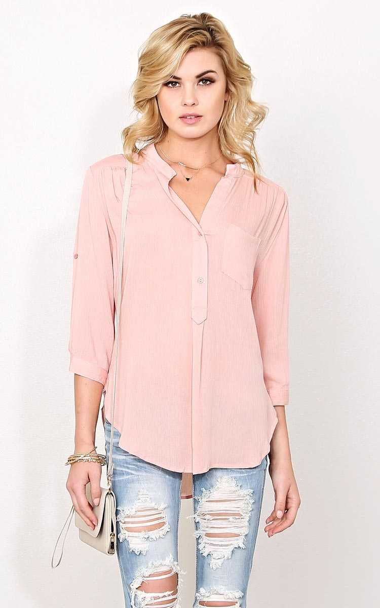 Leah Woven Gauze Top - LGE - Blush in Size Large by Styles For Less