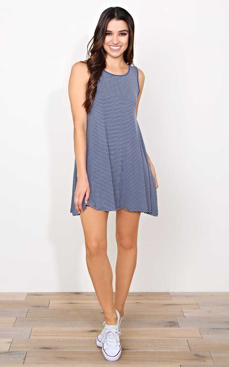 Gone Coastal Knit Shift Dress - - Navy Combo in Size by Styles For Less