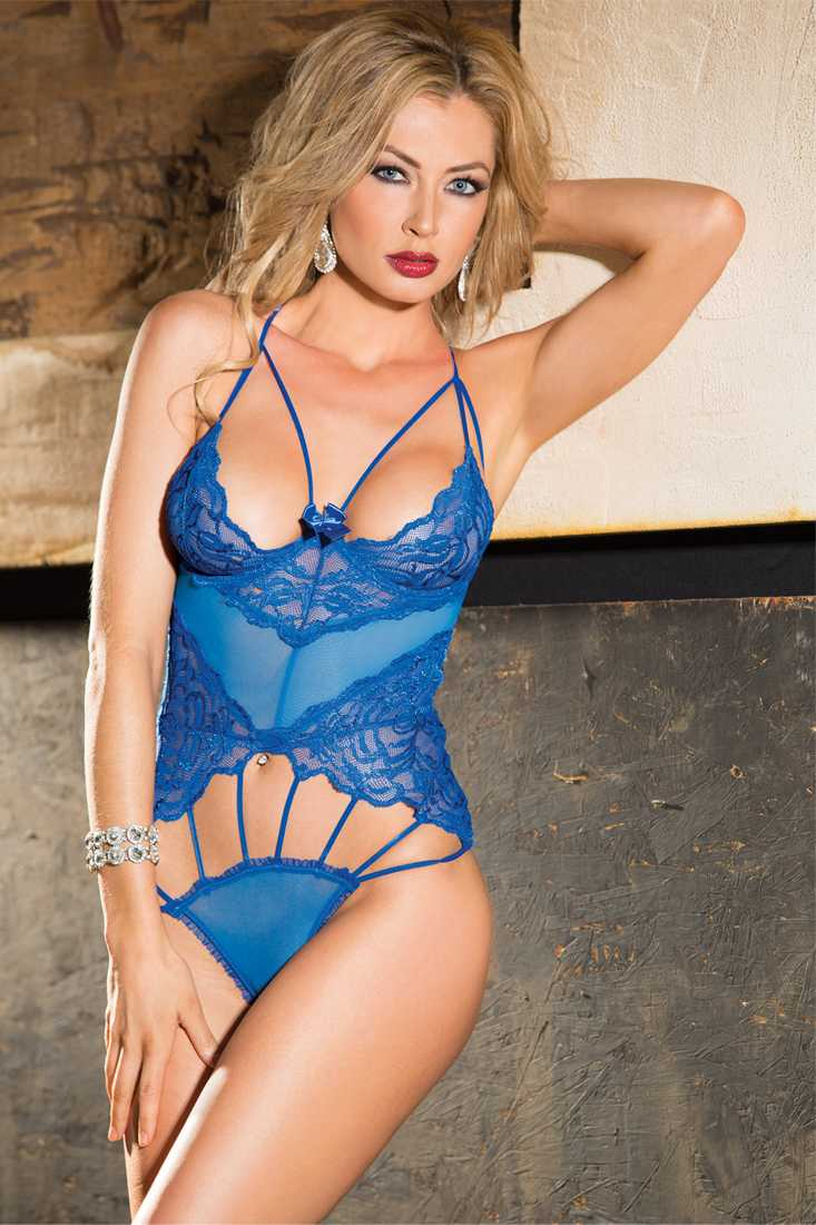 Royal Blue Stretch Lace Mesh and Thin Elastic Teddy