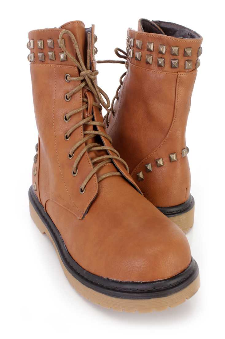 Camel Lace Up Studded Combat Boots Faux Leather