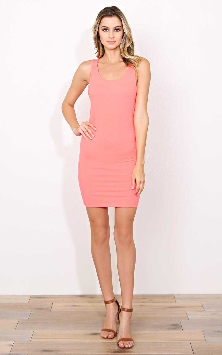 Neon Coral Racerback Knit Tank Dress - - Neon Coral in Size by Styles For Less