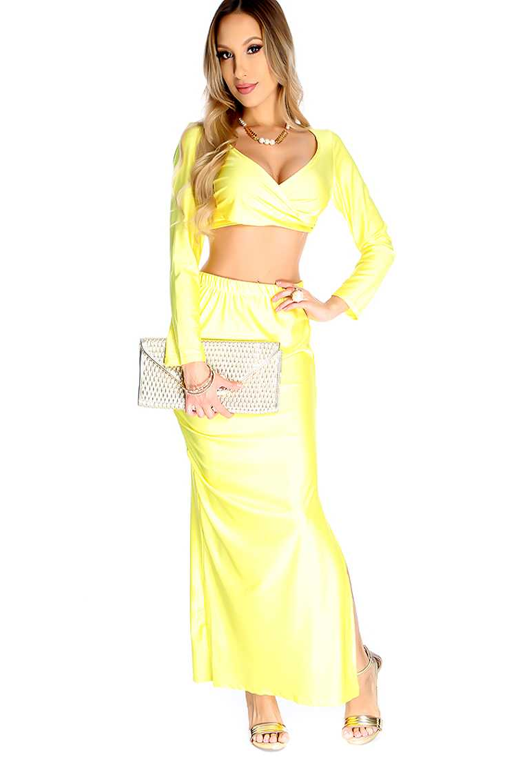 Sexy Yellow Cross Wrap Front Cropped Top Party 2 Piece Dress