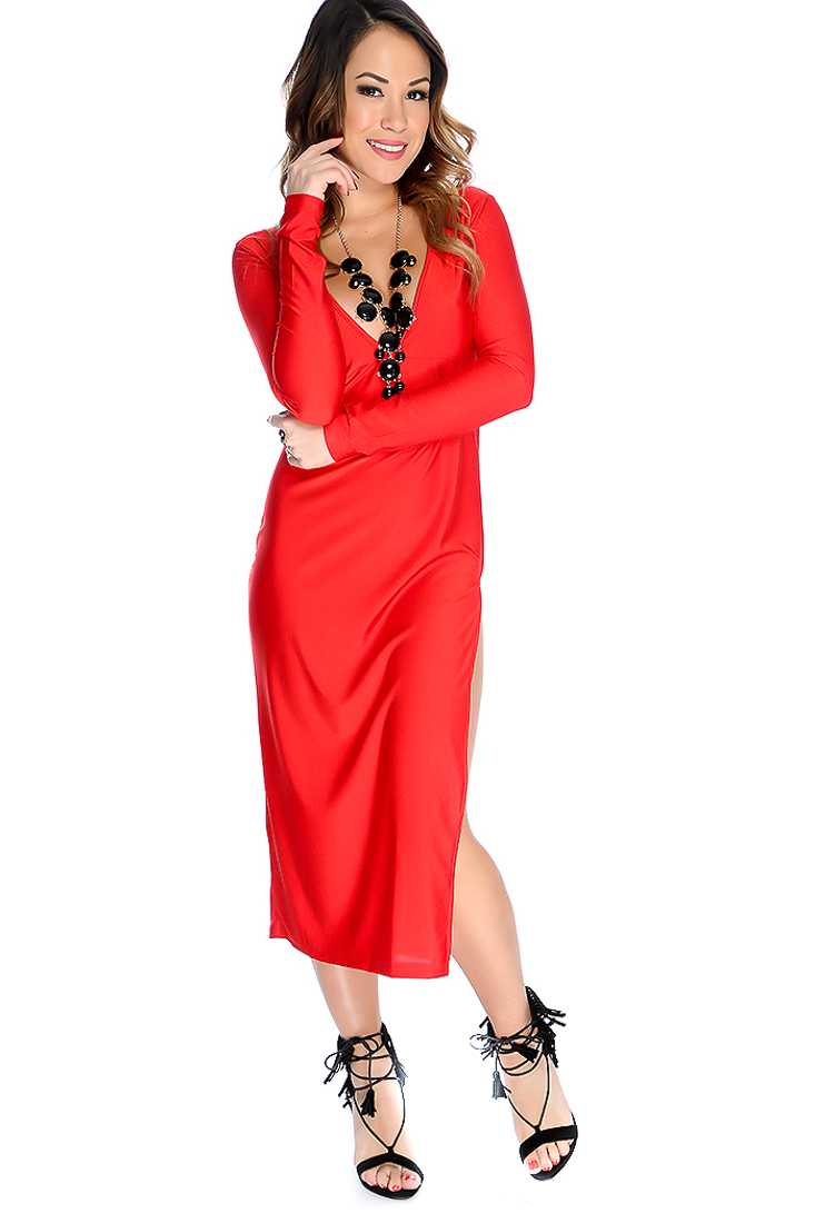 Sexy Red Long Sleeves Deep V Neck Back Cut Out Party Dress