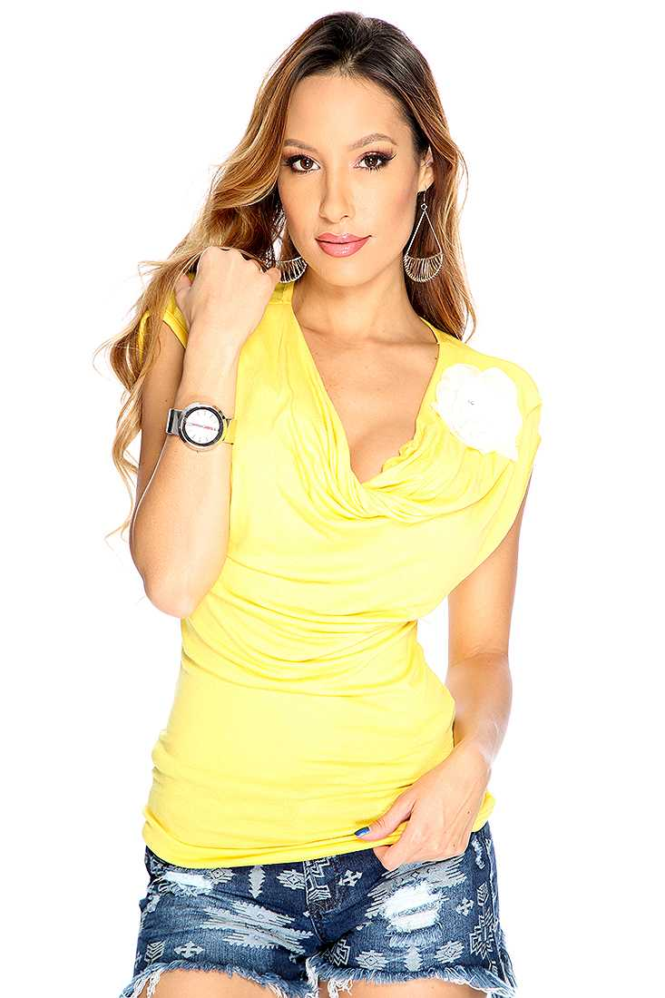 Yellow draped Floral Accent Dressy Top