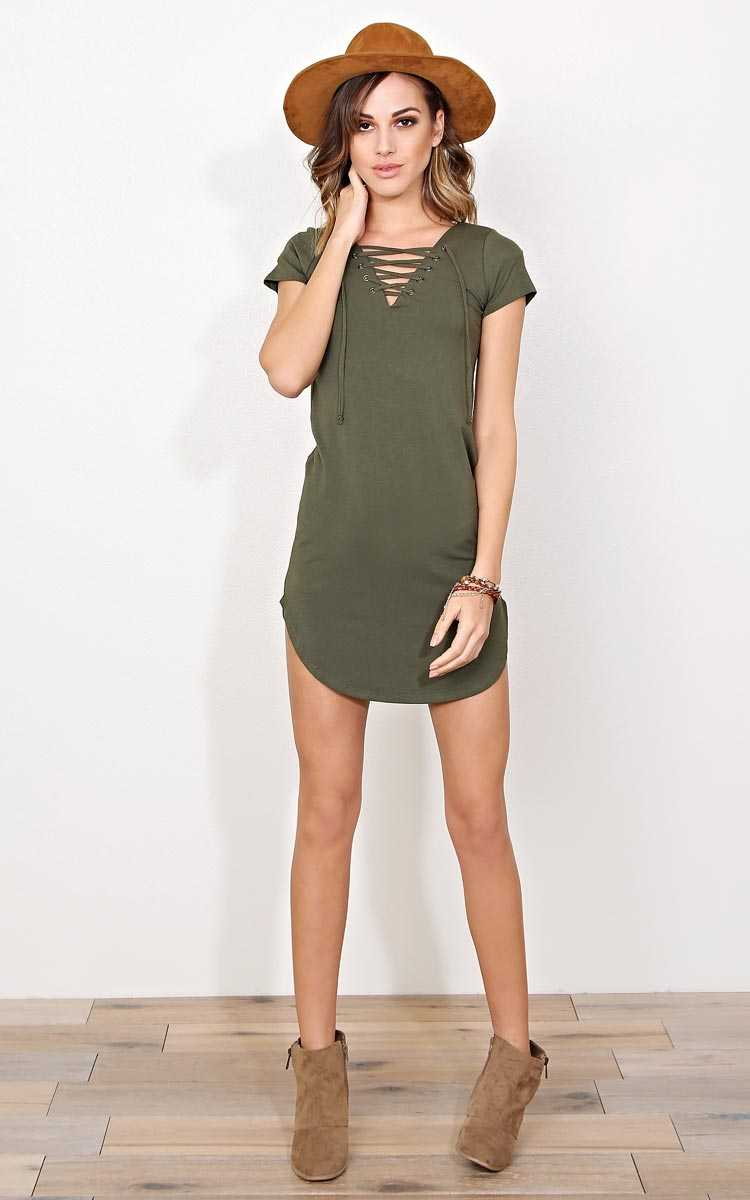 Olive Monte Carlo Lace Up T Shirt Dress - MED - Olive/Drab in Size Medium by Styles For Less