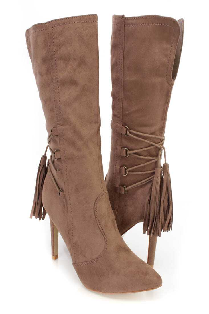 Taupe Pointed Toe Single Sole Heel Booties Faux Suede