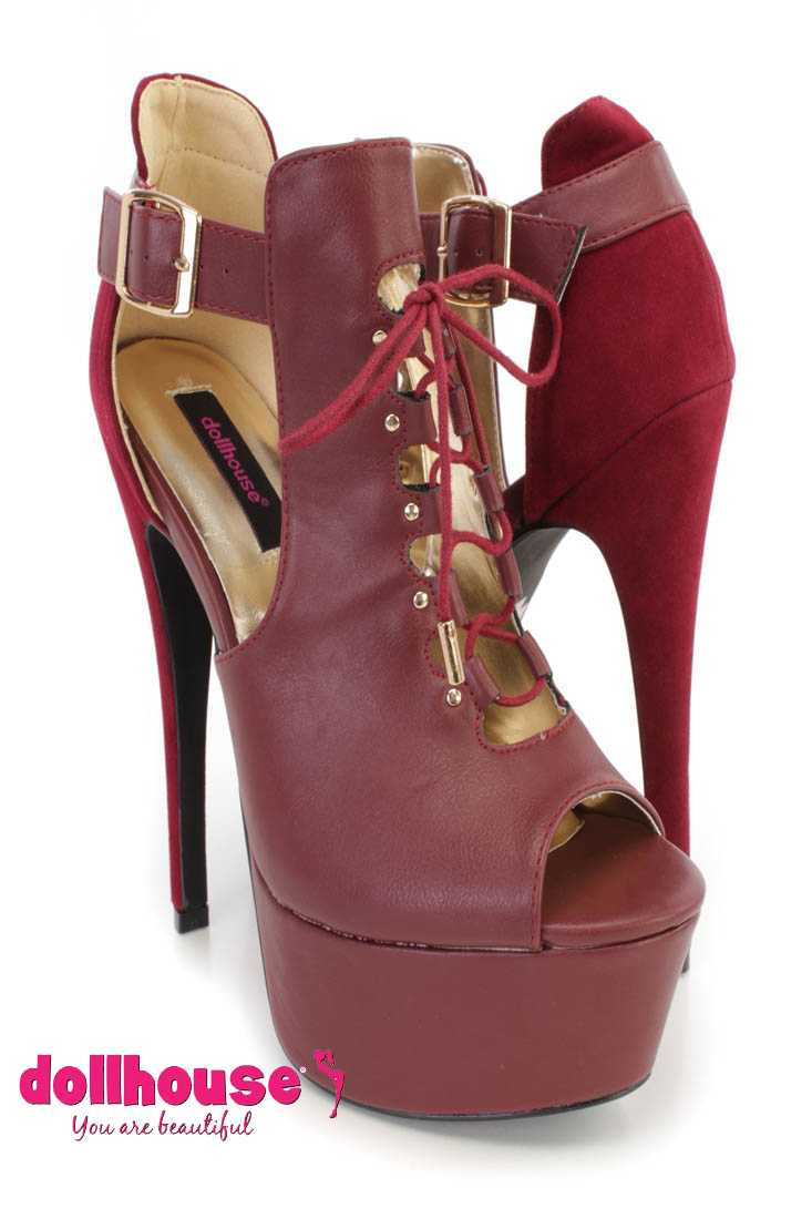 Oxblood Lace Up Cut Out Ankle Booties Faux Leather