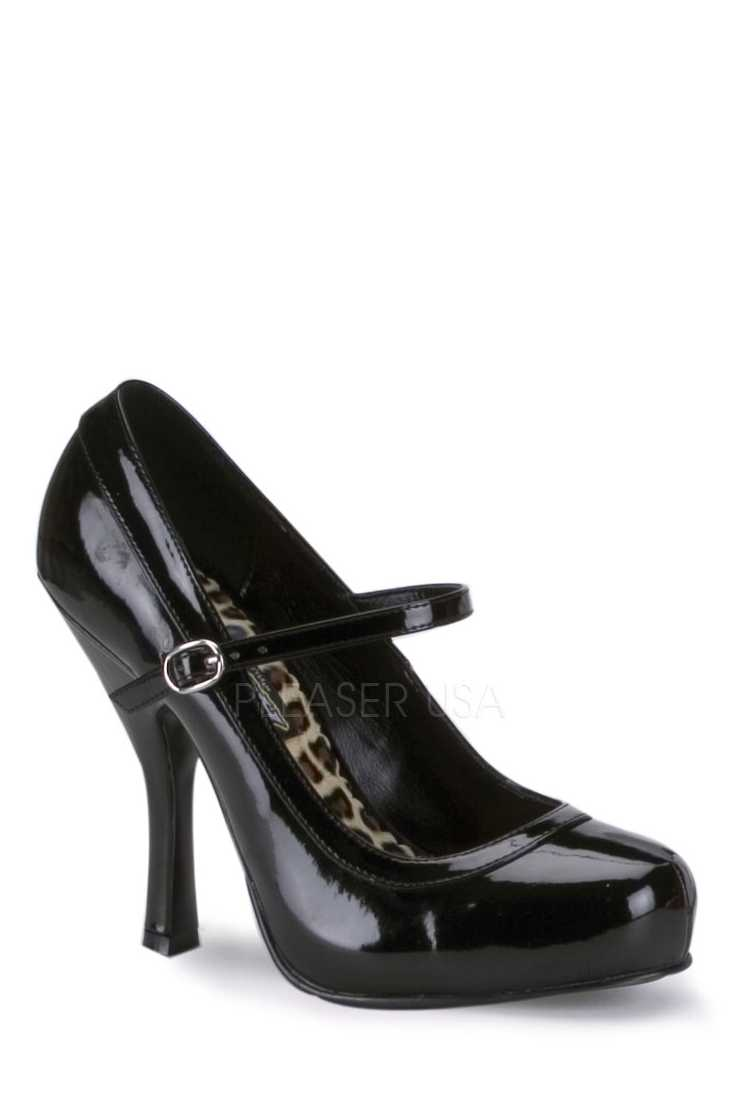Black Closed Toe Maryjane High Heels Patent
