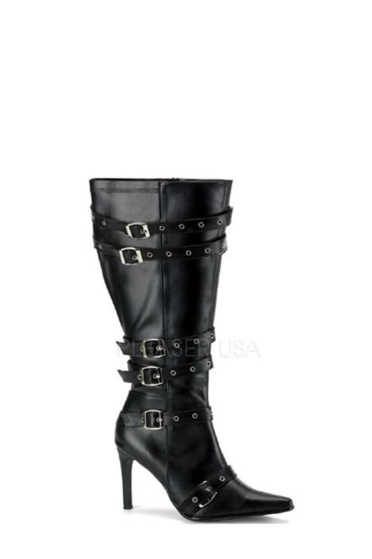 Black Grommet Buckled Strappy Wide Boots Faux Leather