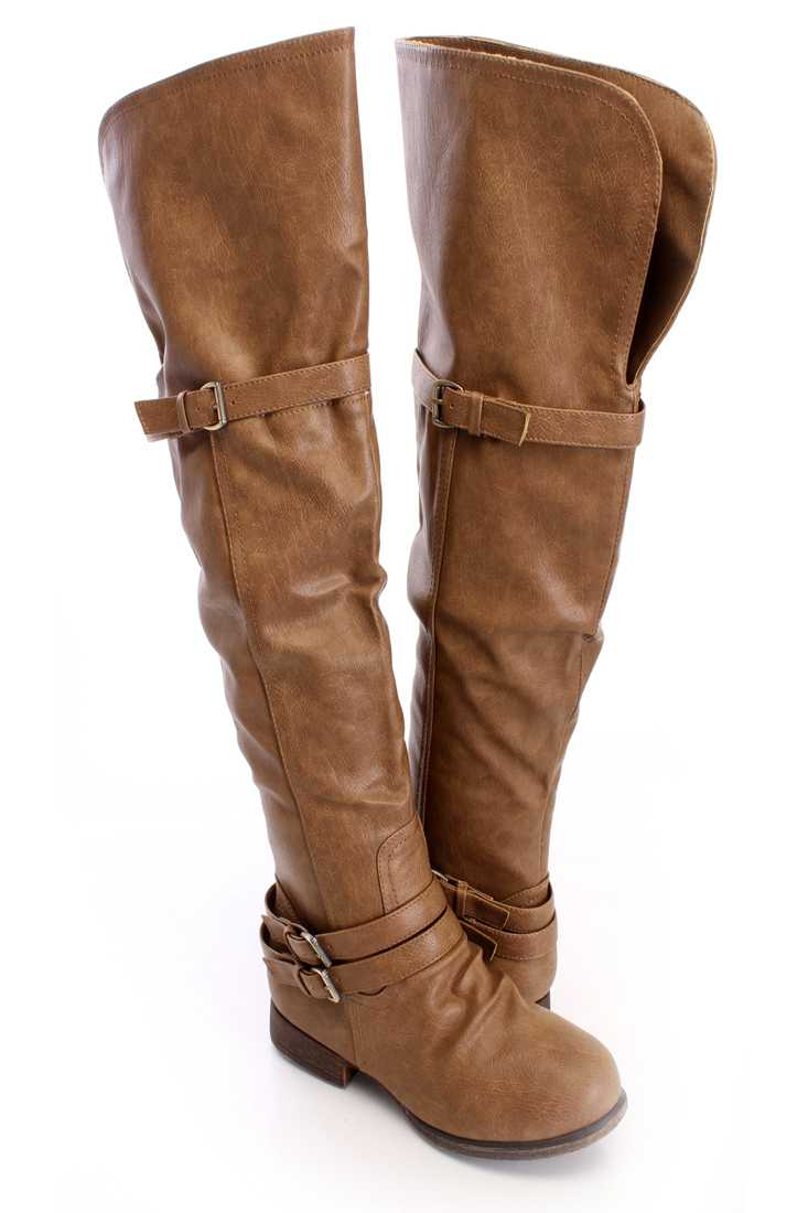 Khaki Thigh High Flat Boots Faux Leather