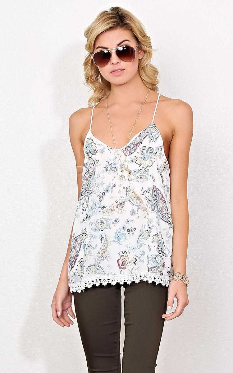 Miranda Woven Necklace Top - - Ivory Combo in Size by Styles For Less