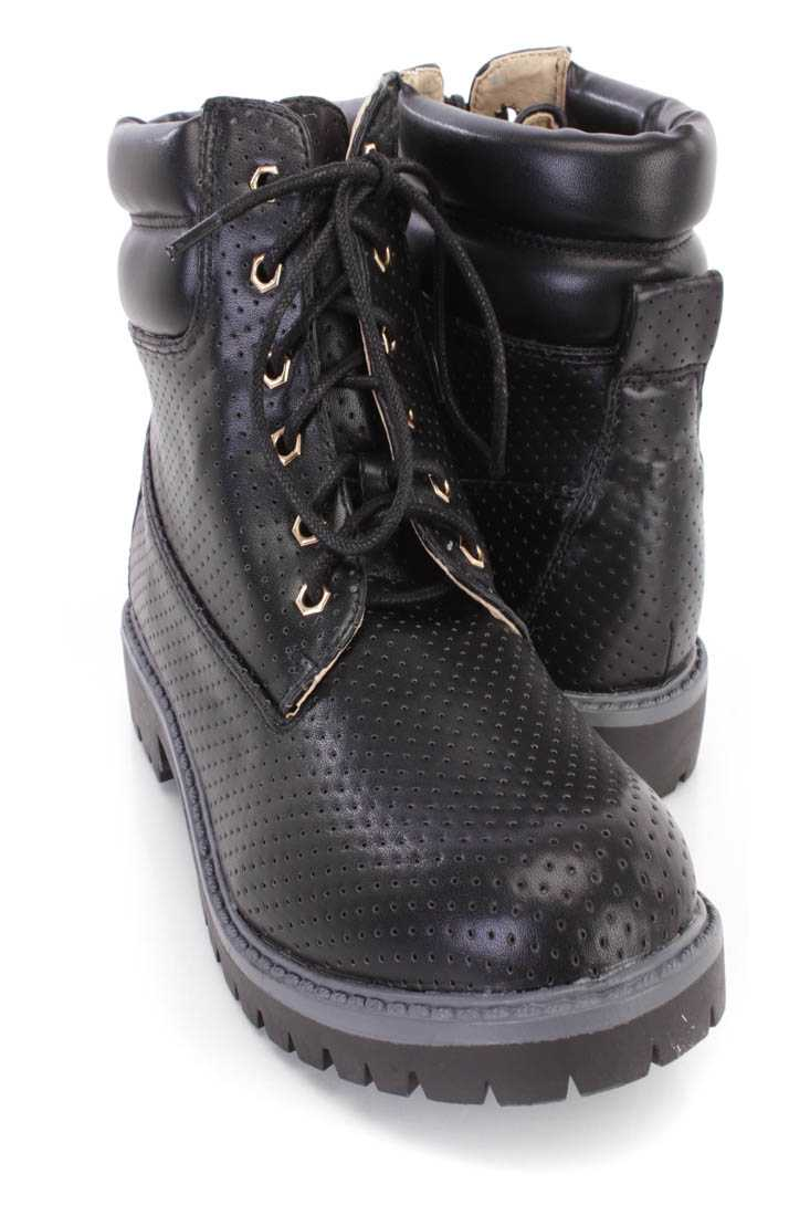 Black Perforated Lace Up Boots Faux Leather