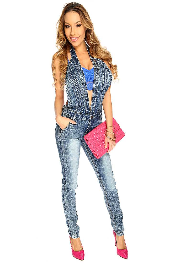 Blue Acid Wash Stone Wash Plunging Overall Outfit