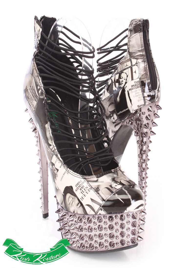 Black White Printed Strappy High Heels Patent