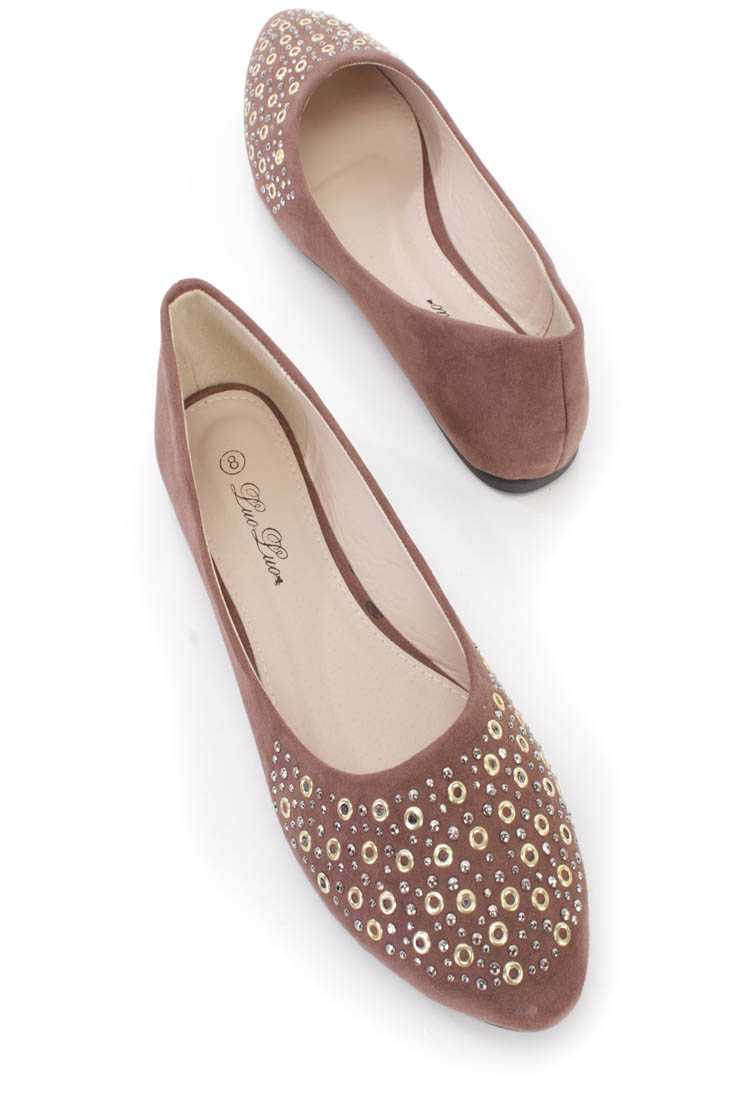 Coffee Studded Almond Toe Ballerina Flats Faux Suede