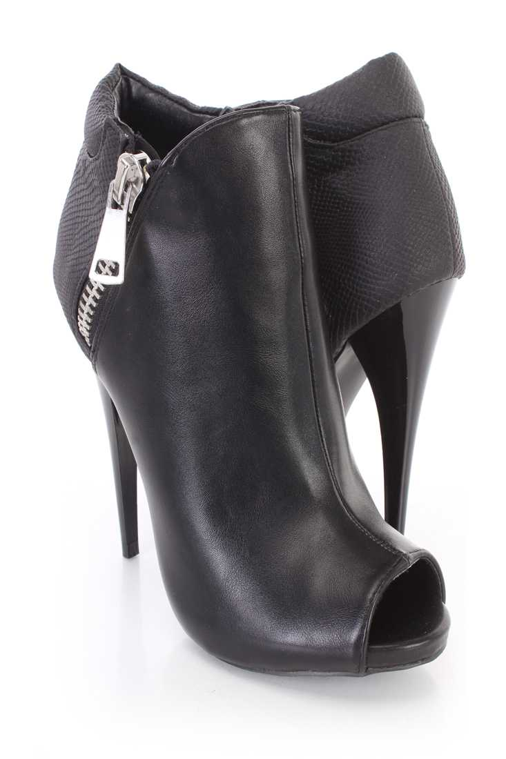 Black Peep Toes Ankle Booties Faux Leather