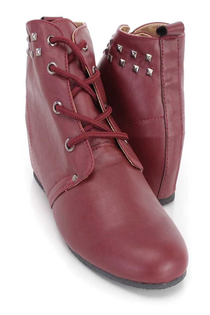 Red Studded Lace Up Ankle Wedge Booties Faux Leather