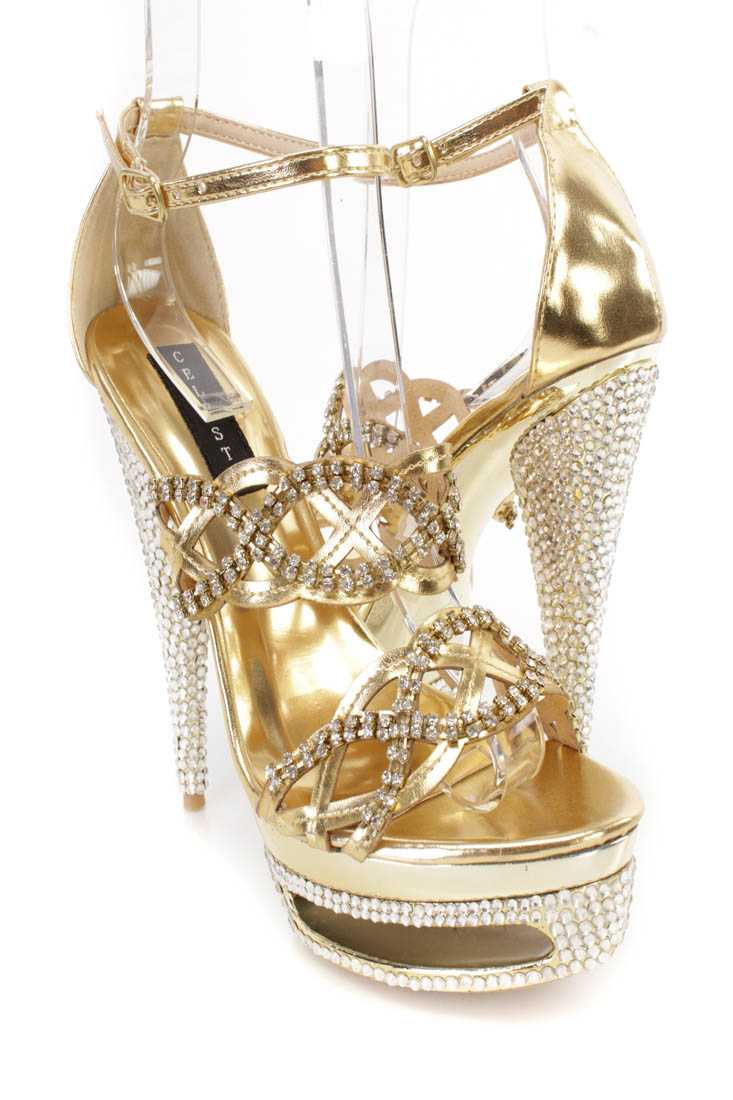 Gold Rhinestone Strappy 6 Inch High Heels Faux Leather