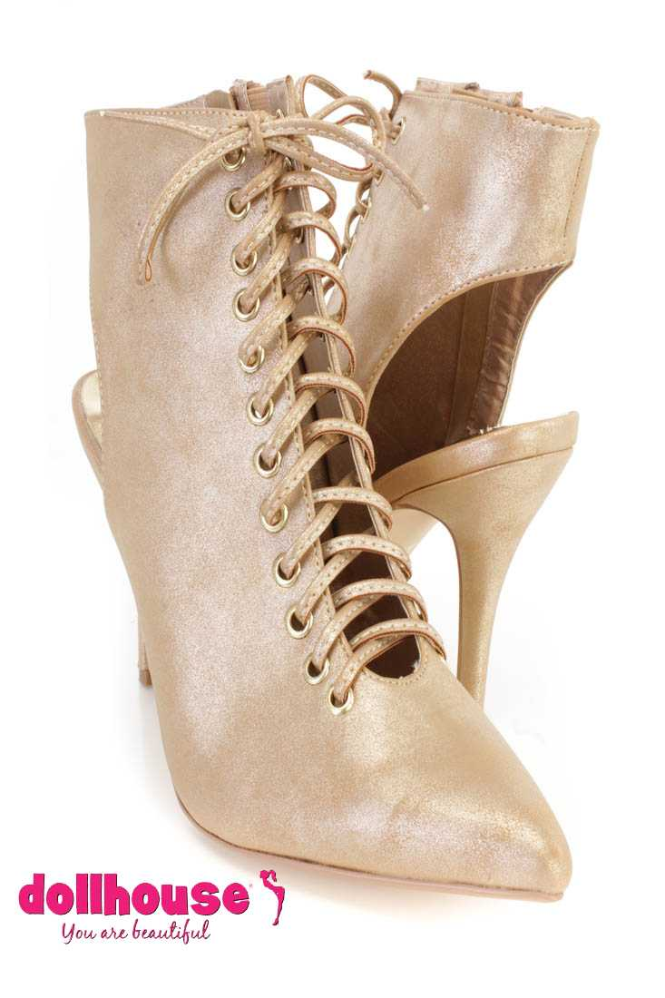 Gold Lace Up Single Sole Ankle Booties Faux Leather