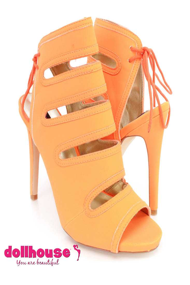 Orange Cut Out Peep Toe Ankle Booties Nubuck