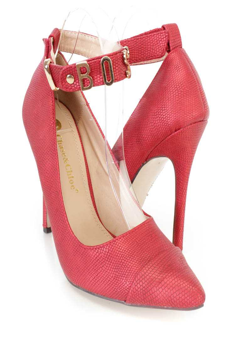 Red Ankle Strap Single Sole High Heels Faux Leather