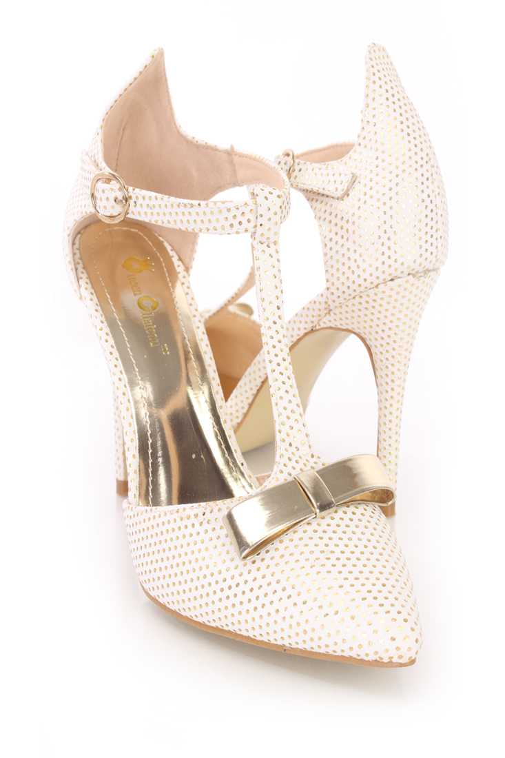 Beige Bow Tie T Strap Single Sole High Heels Faux Leather