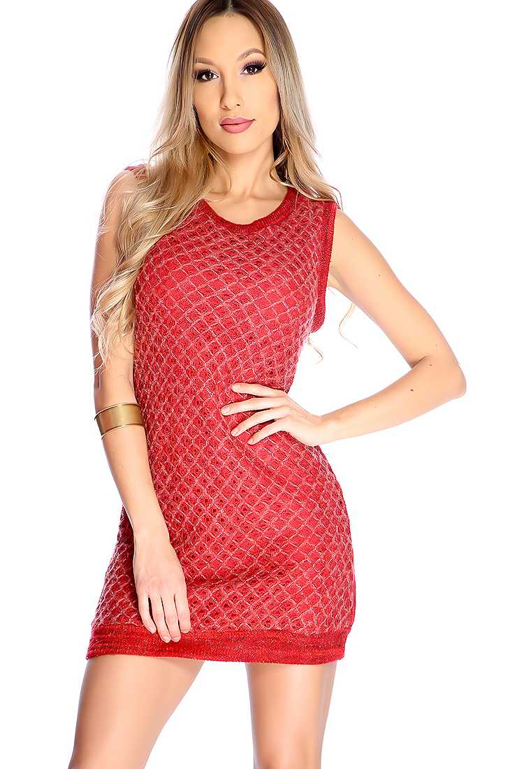 Sexy Red Open Knit Mohair Sleeveless Party Dress