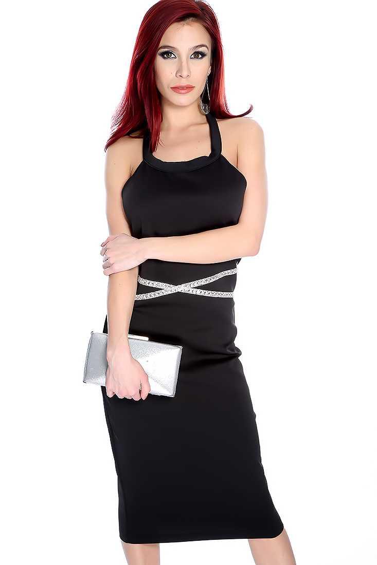 Sexy Black Rhinestone Halter Party Dress