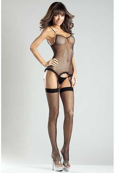 3pc Black Spandex Net Body Stocking