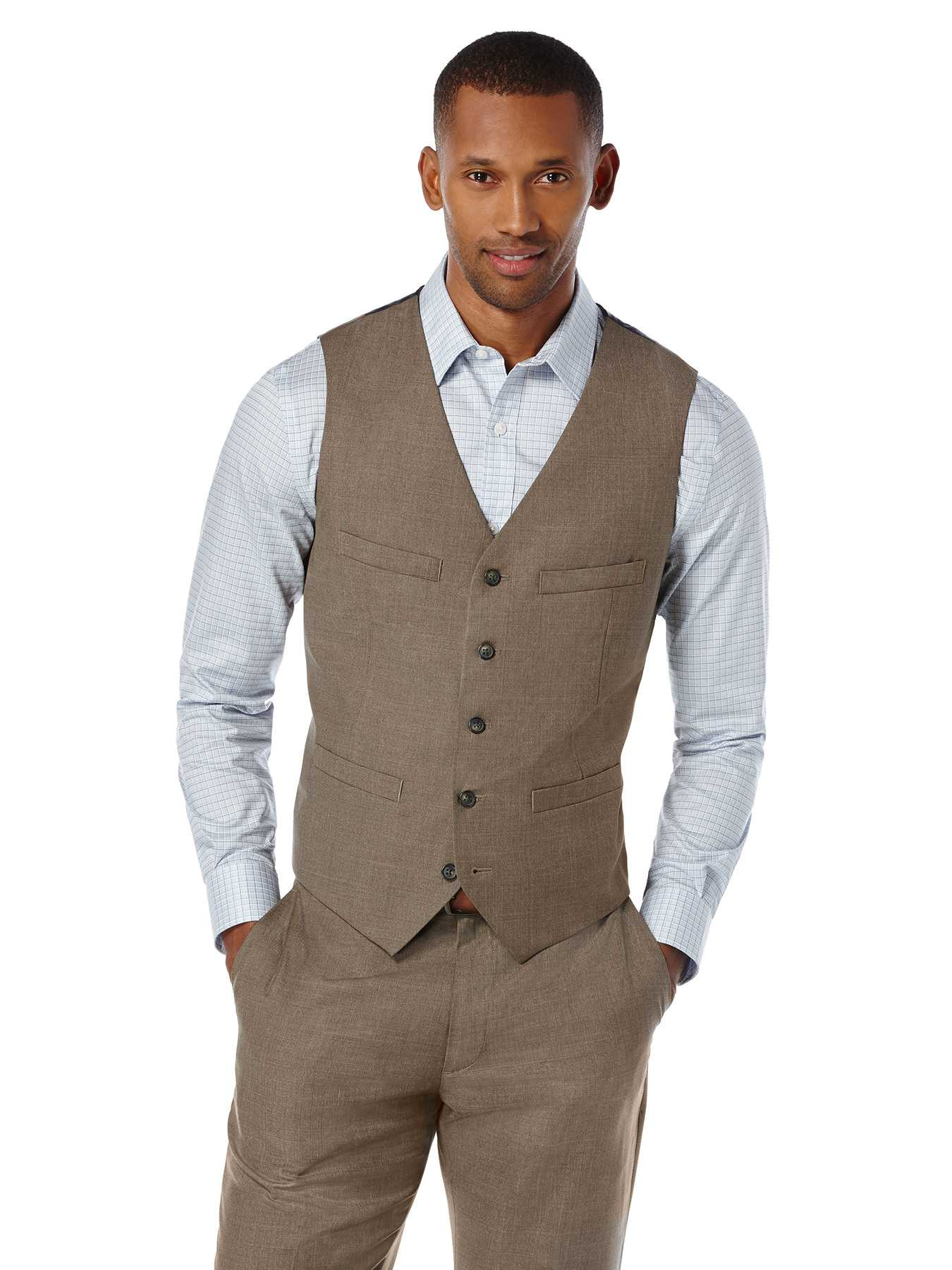 Perry Ellis Slim Fit Textured Heather Suit Vest