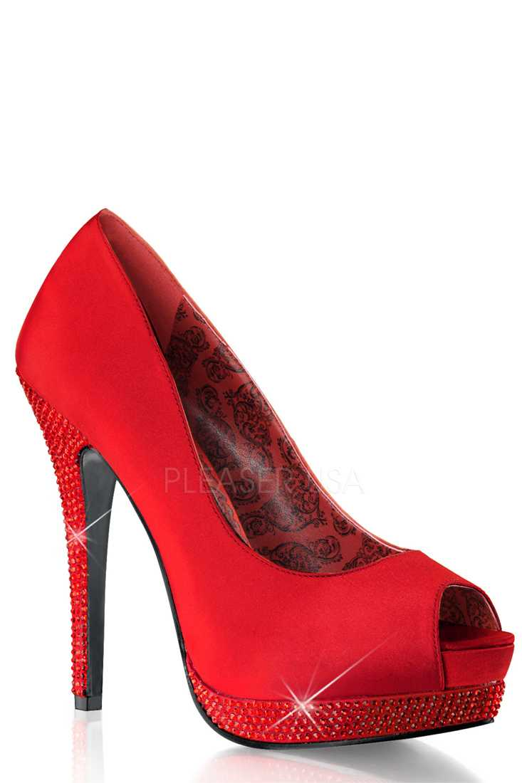 Red Peep Toe Rhinestone Platform Pump High Heels Satin