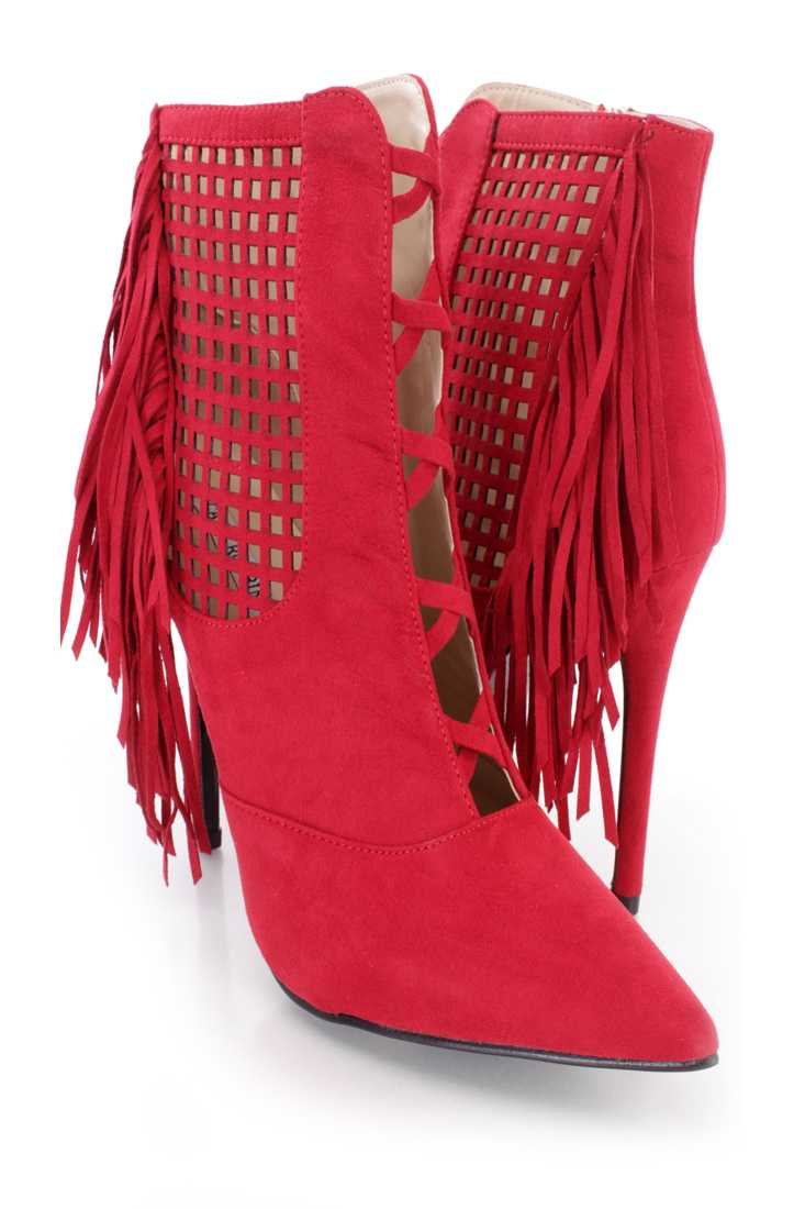 Red Perforated Fringe Ankle Booties Faux Suede