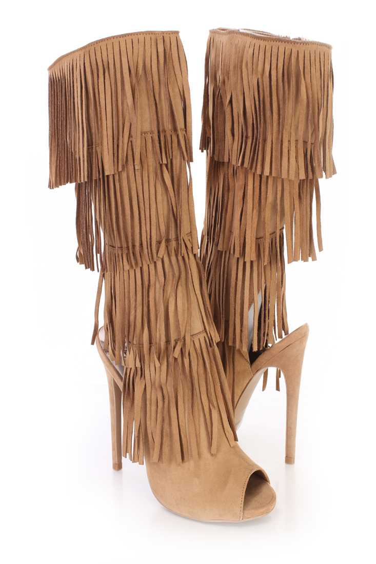 Camel Fringe Peep Toe Single Sole Boots Faux Suede