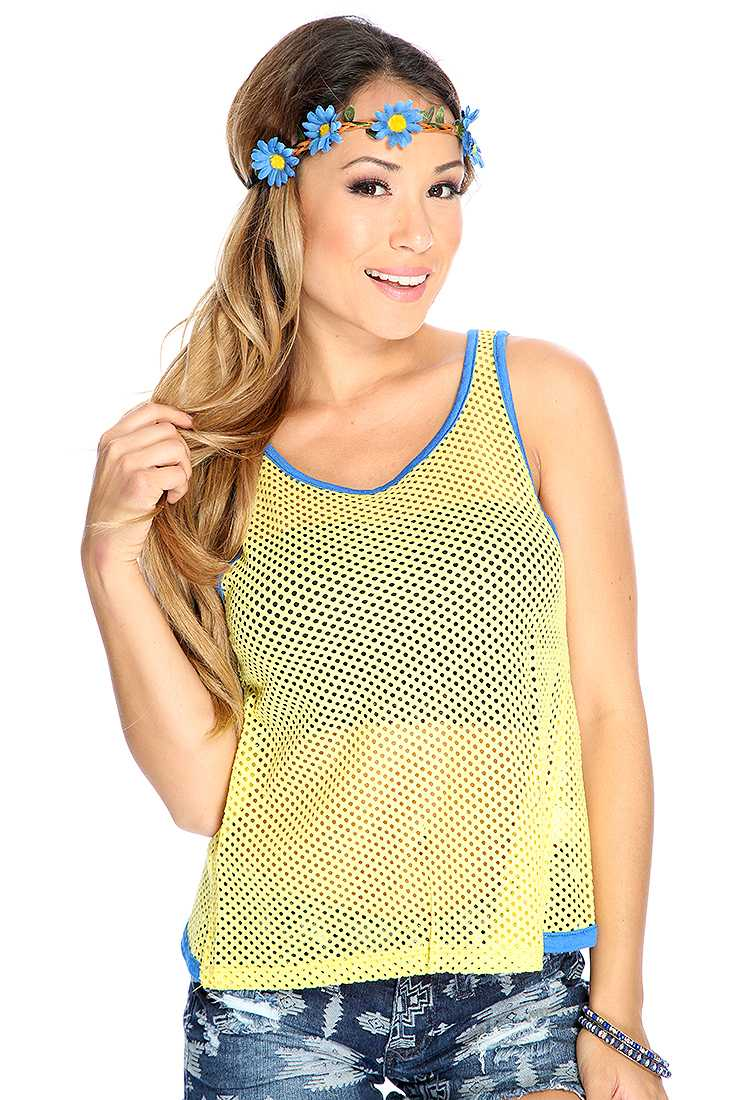 Casual Two Tone Netted Casual Yellow Blue Top